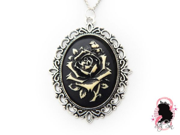 Antique Silver Rose Cameo Necklace